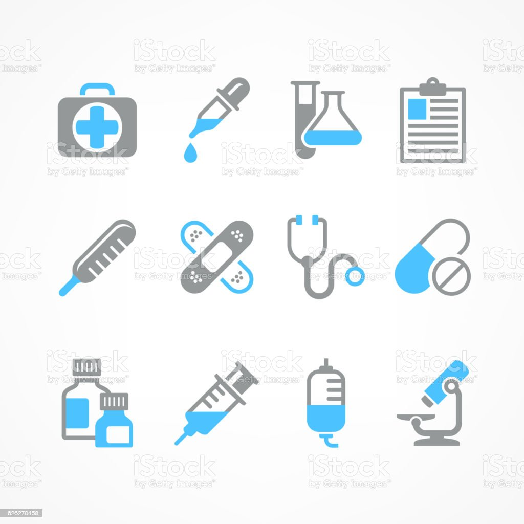 Medical icons in blue vector art illustration