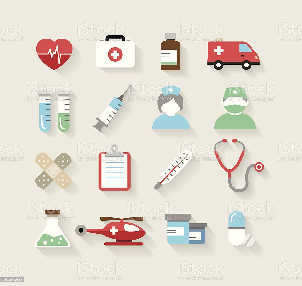 Medical Icons in Flat Design Style vector art illustration