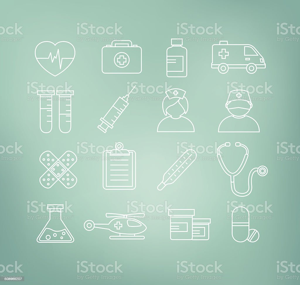 Medical Icons in Thin Line Design Style vector art illustration