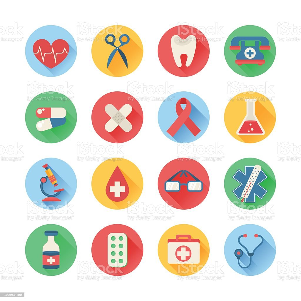 Medical icons in trendy flat style vector art illustration