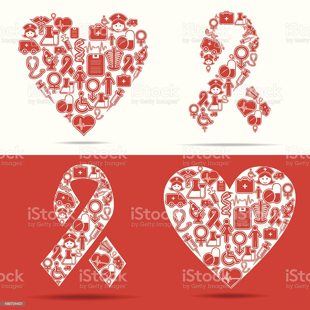 Medical icons make a heart and aids shape vector art illustration