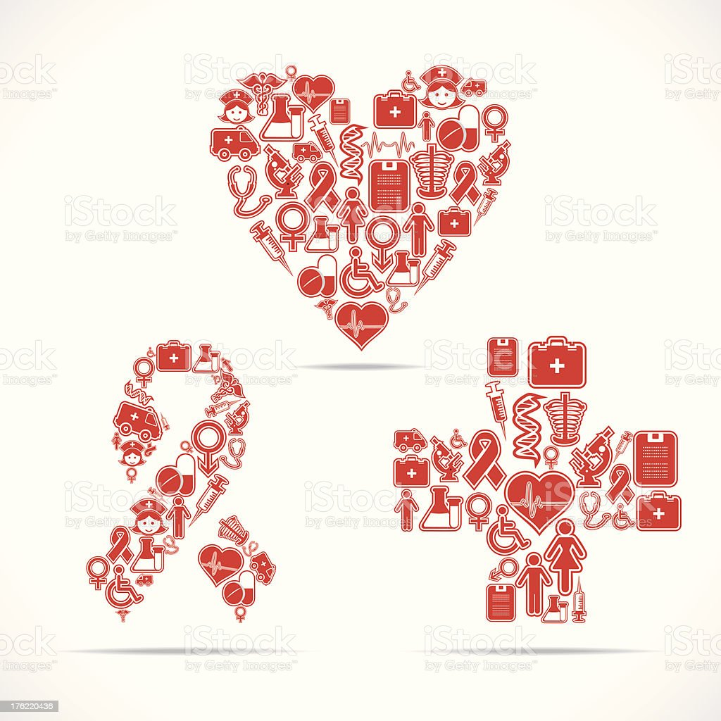Medical icons make a heart,aids and cross shape royalty-free stock vector art
