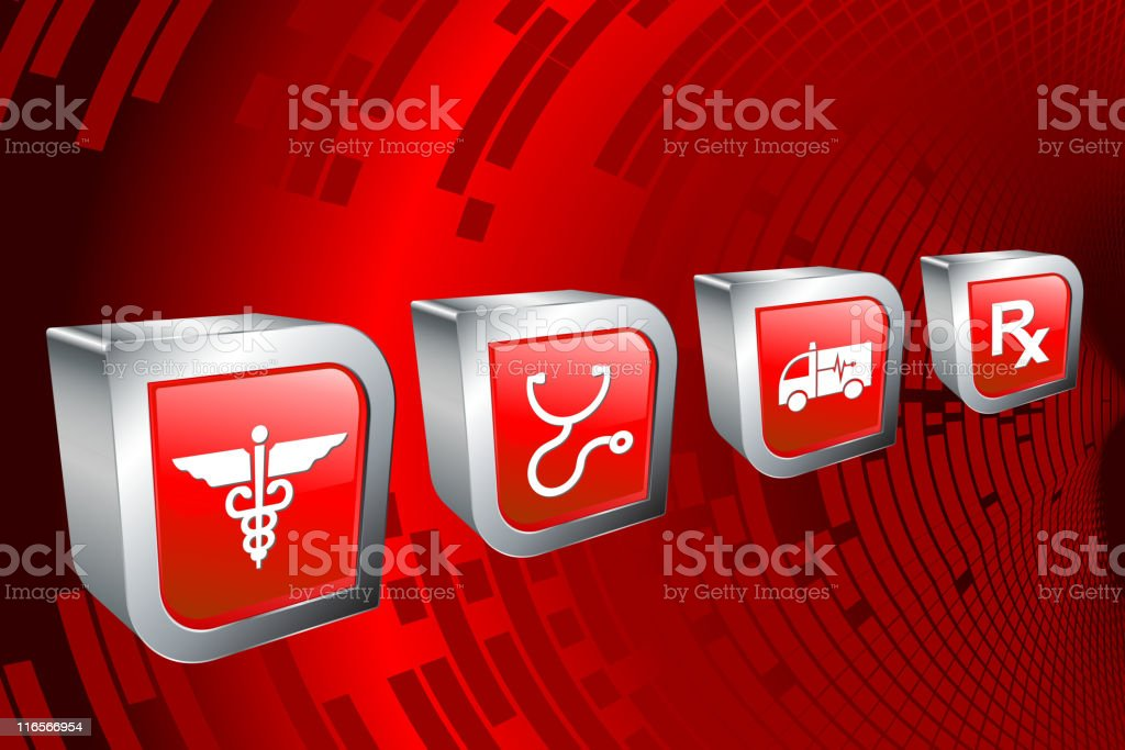 medical icons on red Background royalty-free stock vector art
