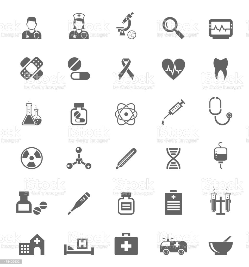 Medical icons on white. Tablets  medicines, pills and drugs vector art illustration