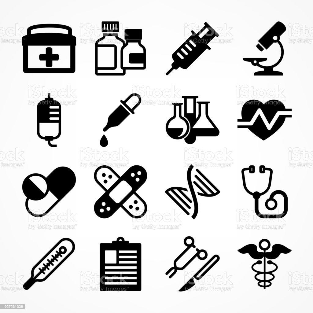 Medical icons on white vector art illustration