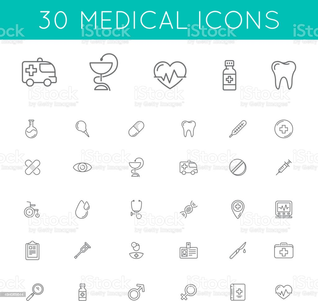 Medical icons pack. vector art illustration