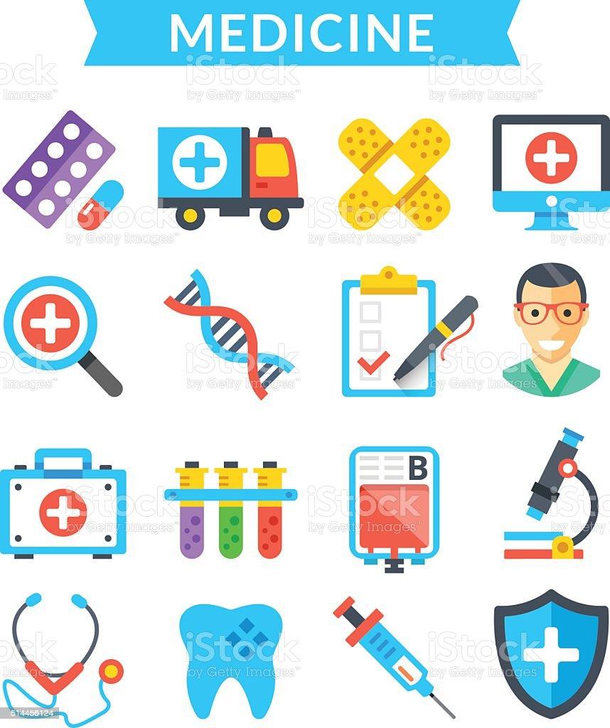 Medical icons set. Medicine, healthcare, diagnostics. Flat vector icons vector art illustration