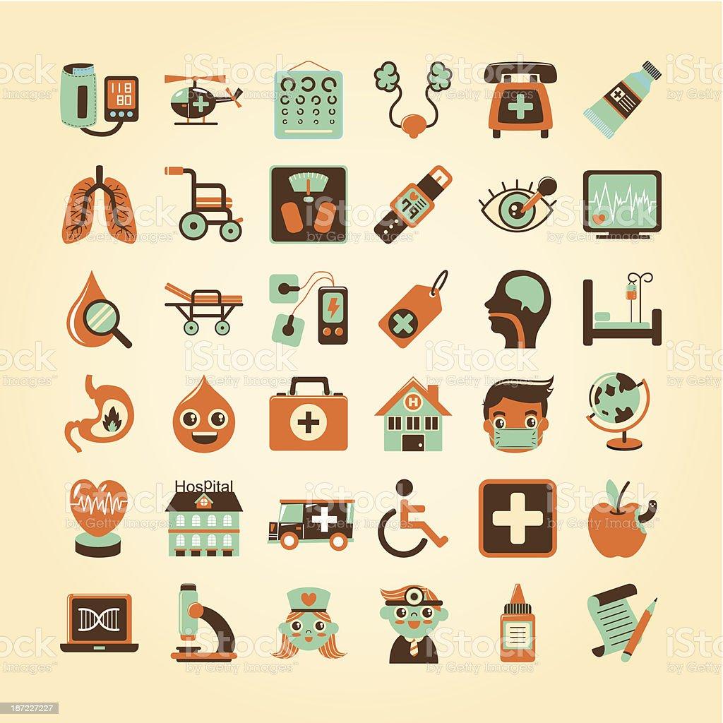 Medical icons set, royalty-free stock vector art