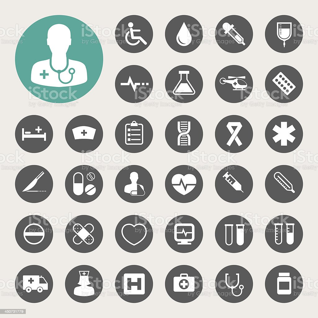 Medical icons set. vector art illustration