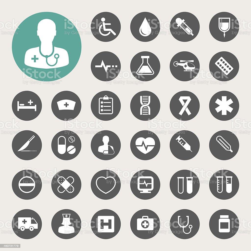 Medical icons set. vector art illustration
