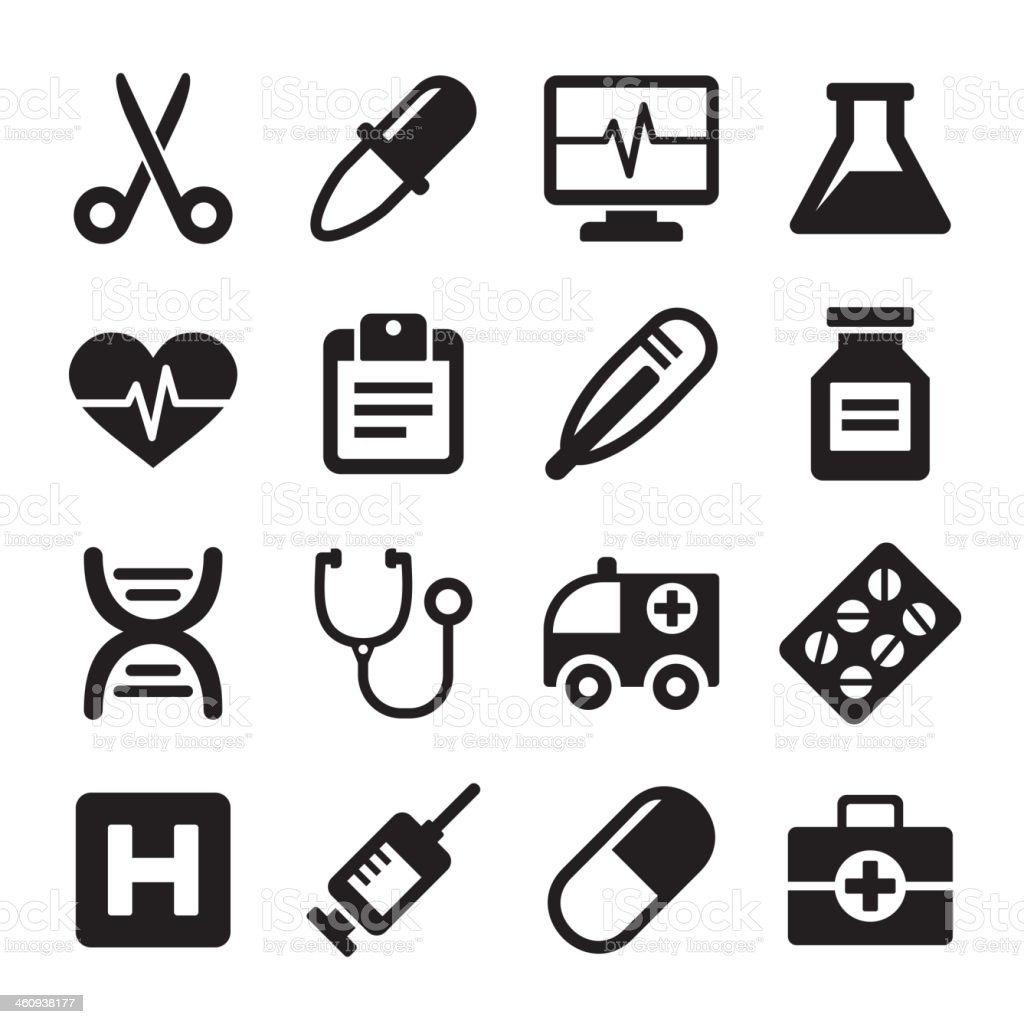 Medical icons set royalty-free stock vector art