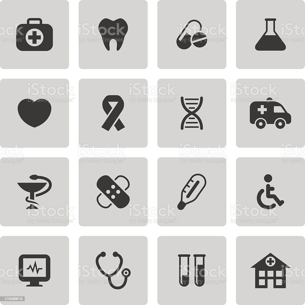 Medical icons set vector art illustration