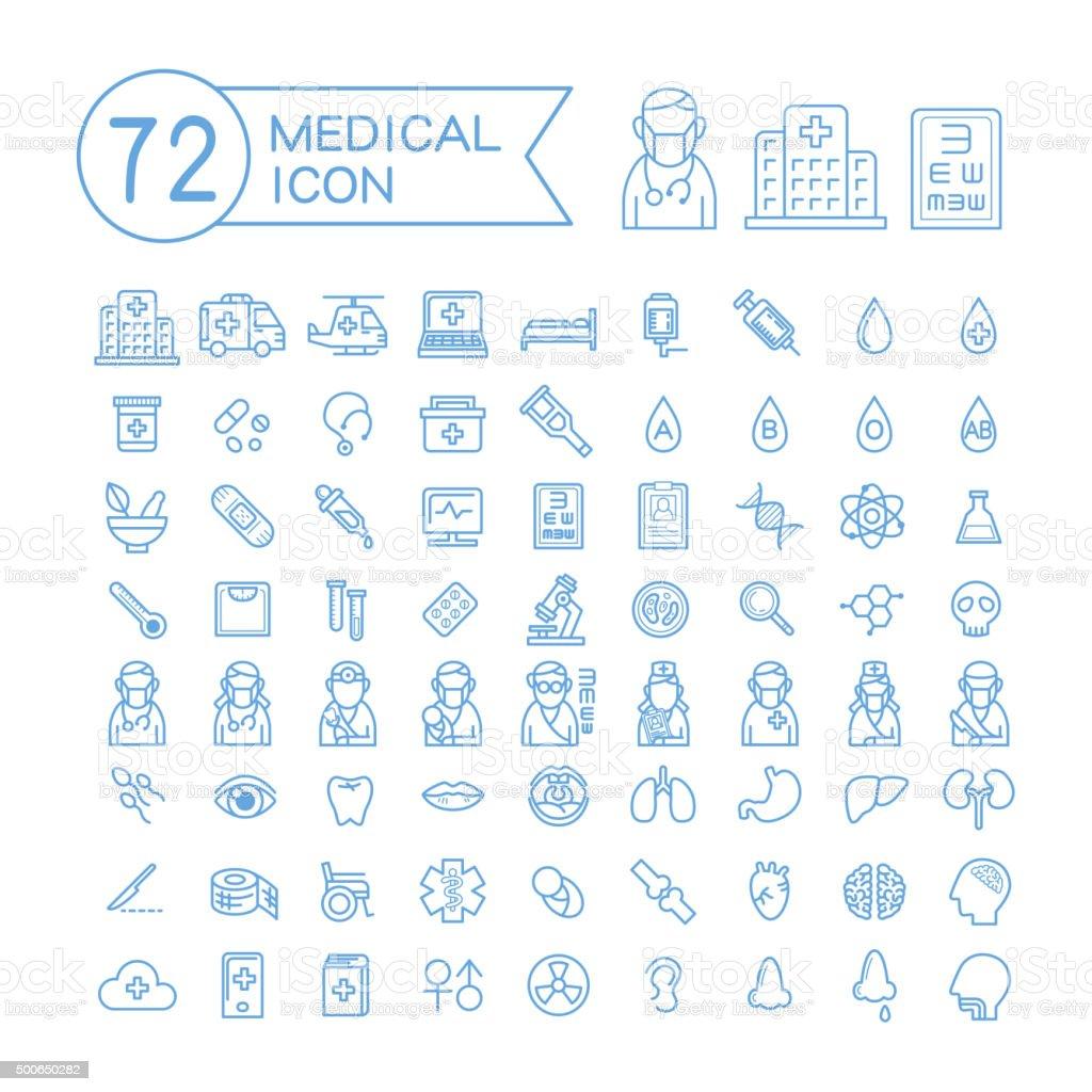 72 medical icons set vector art illustration
