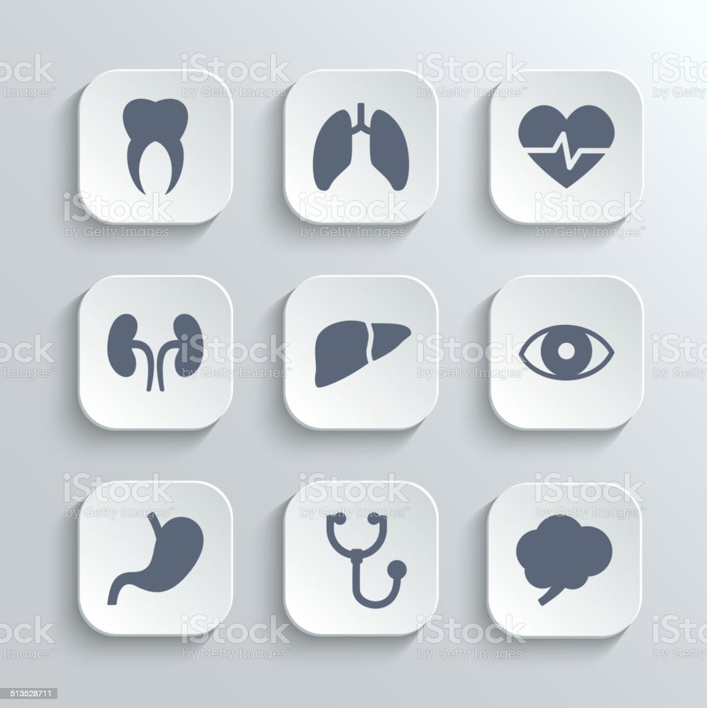 Medical icons set - vector white app buttons vector art illustration
