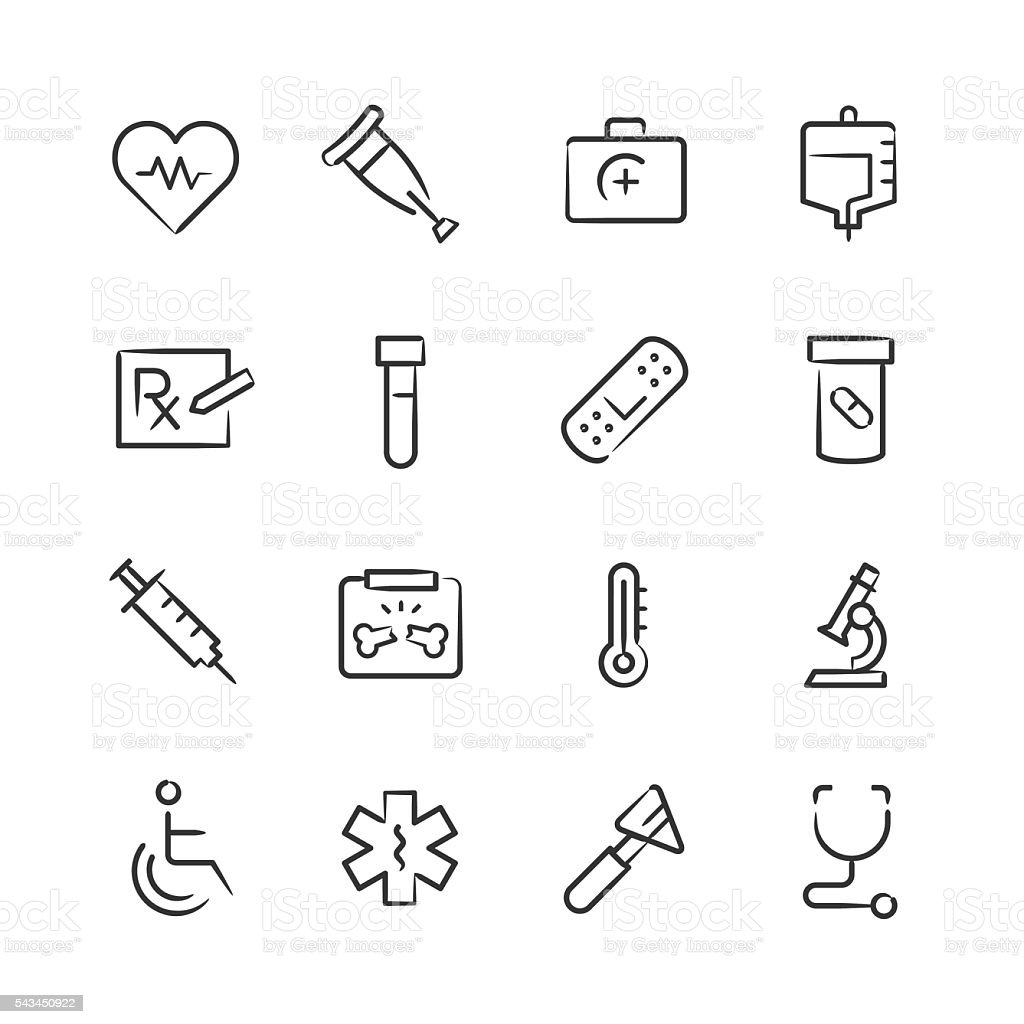 Medical Icons — Sketchy Series vector art illustration
