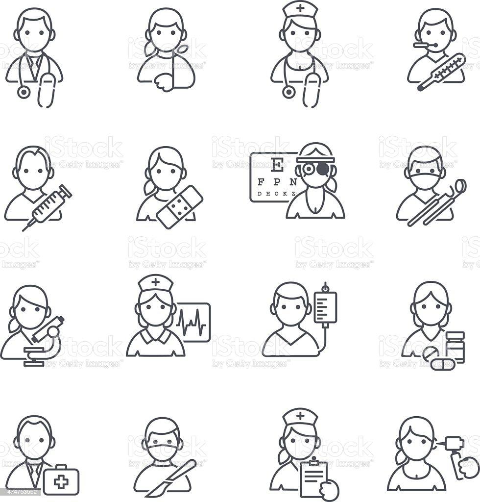 Medical icons thin line. vector art illustration