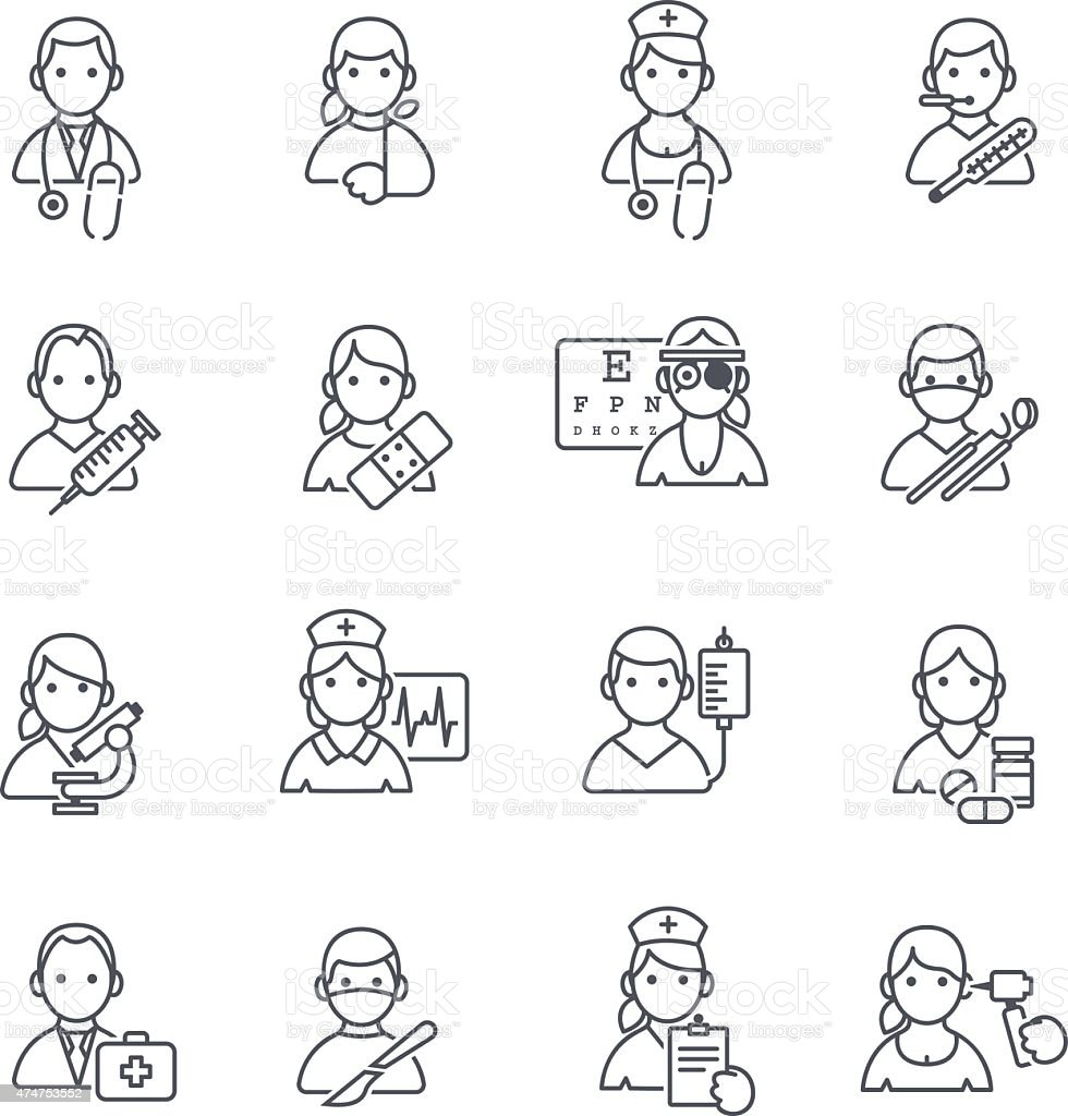 Medical icons thin line. vector art illustration