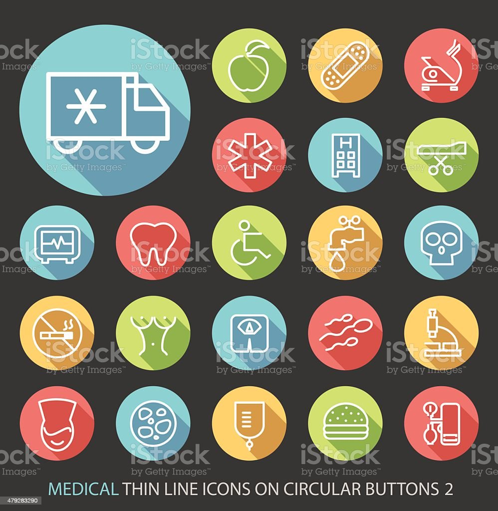 Medical Icons with Buttons on Black Background. vector art illustration