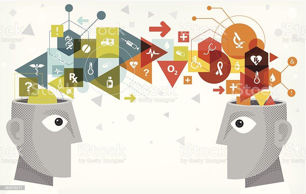 Medical idea sharing vector art illustration