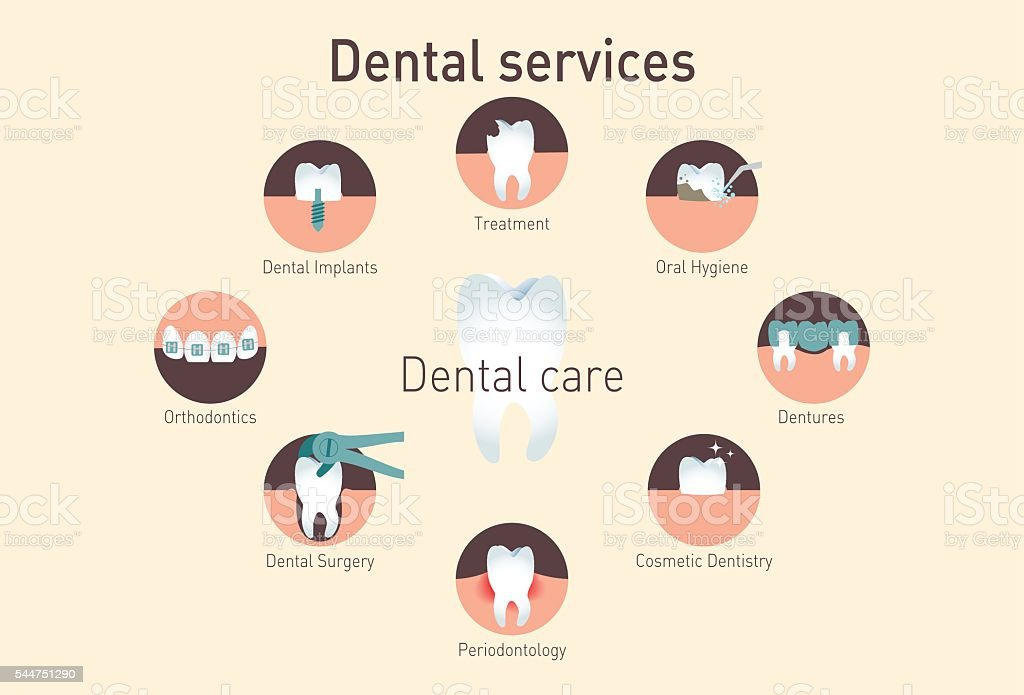Medical infografics: Dental services vector art illustration