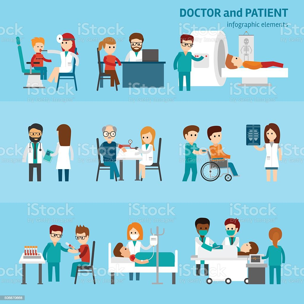 Medical infographic elements with doctor and patient vector art illustration