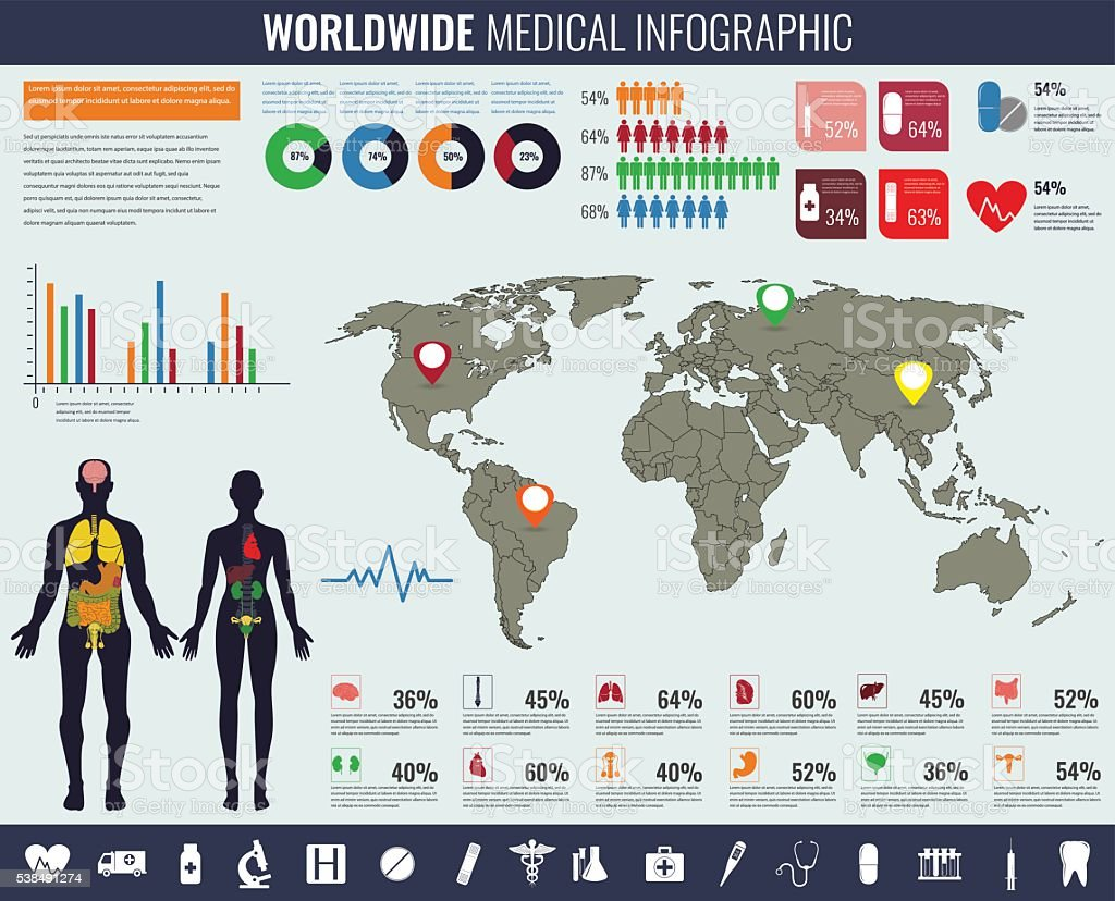 Medical Infographic set with charts and other elements. Vector illustration. vector art illustration