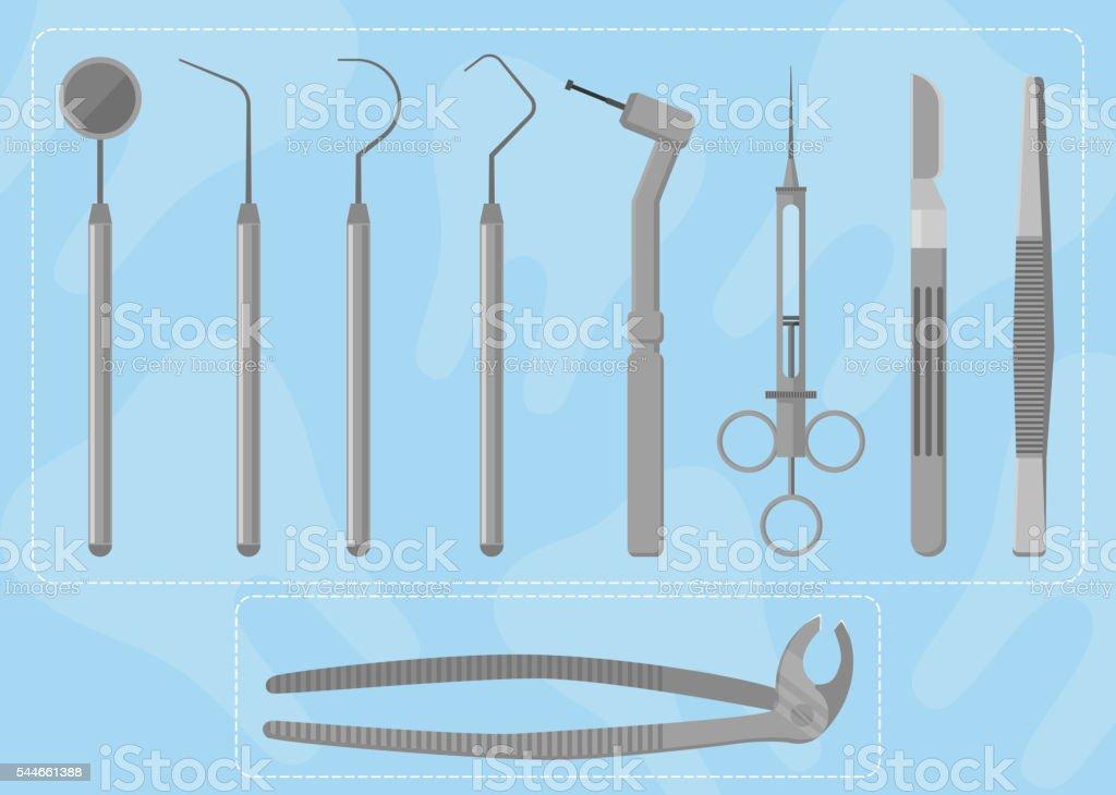 Medical instruments dentist vector art illustration