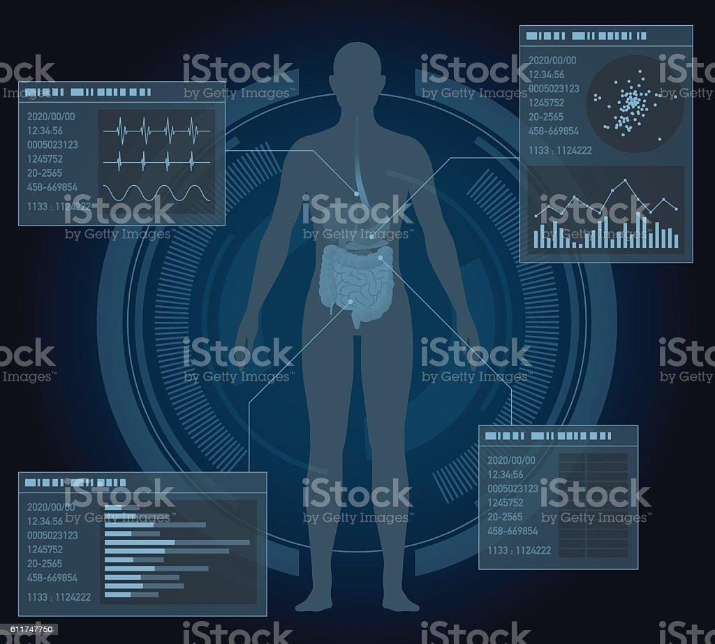 medical interface, human digestive organs vector art illustration