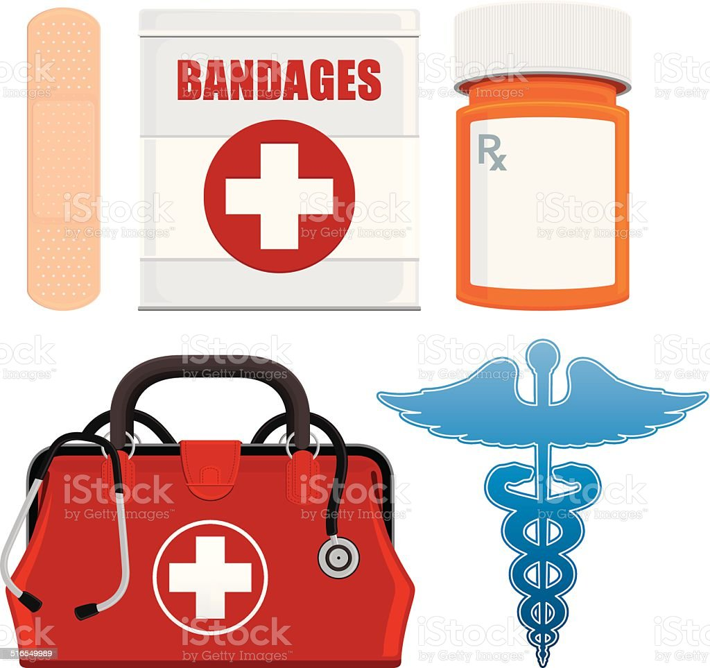 Medical Items vector art illustration