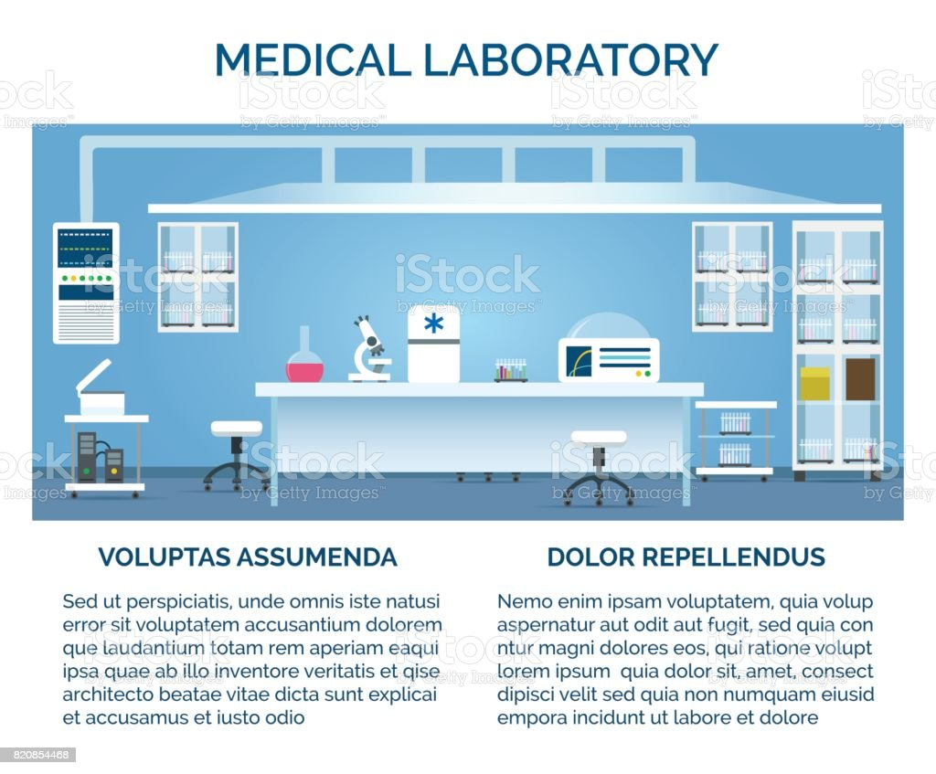 Medical laboratory interior vector art illustration