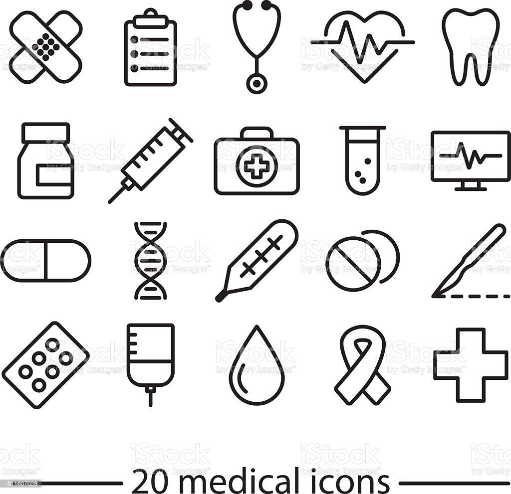 medical line icons vector art illustration