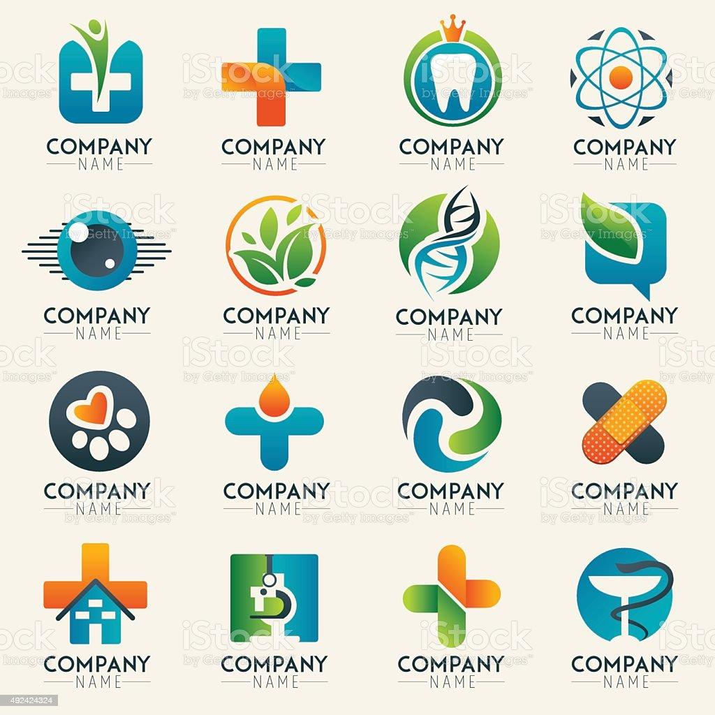 Medical logo icons set. vector art illustration