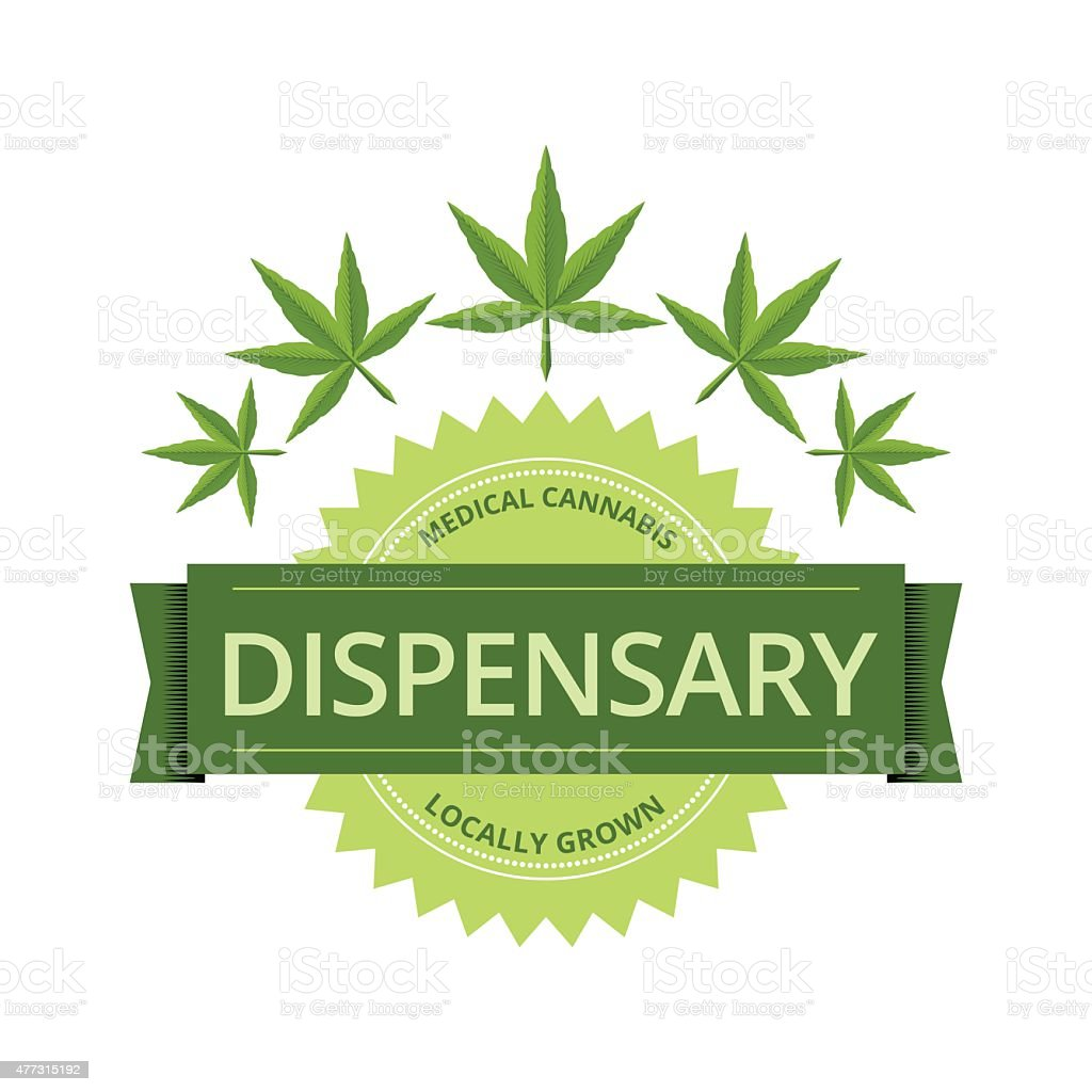 Medical Marijuana Dispensary Label With Leaves vector art illustration