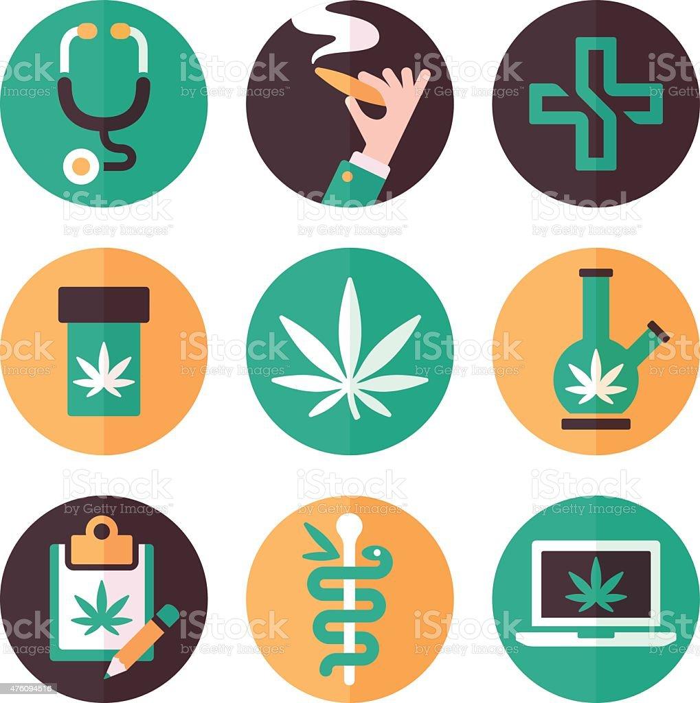 Medical Marijuana Icons and Symbols vector art illustration