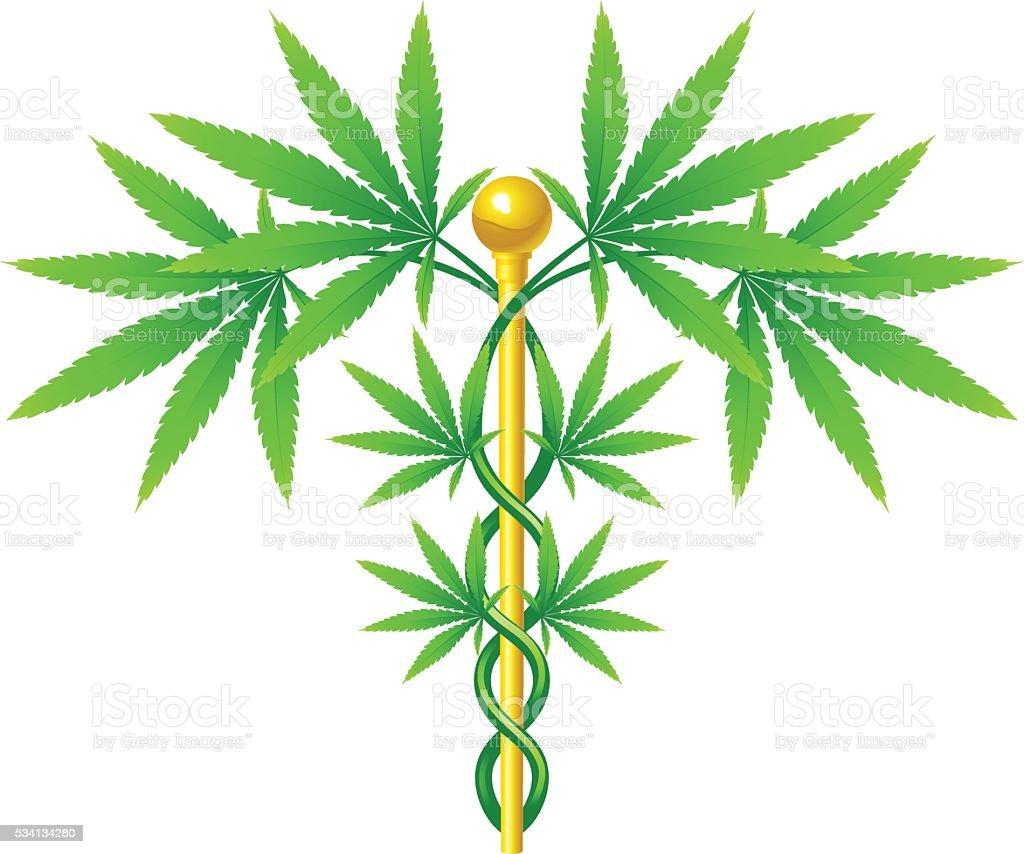 Medical Marijuana Plant Caduceus vector art illustration