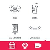 Medical mask, blood and pills icons.