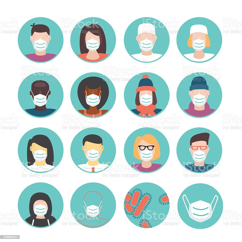 Medical masks set vector art illustration
