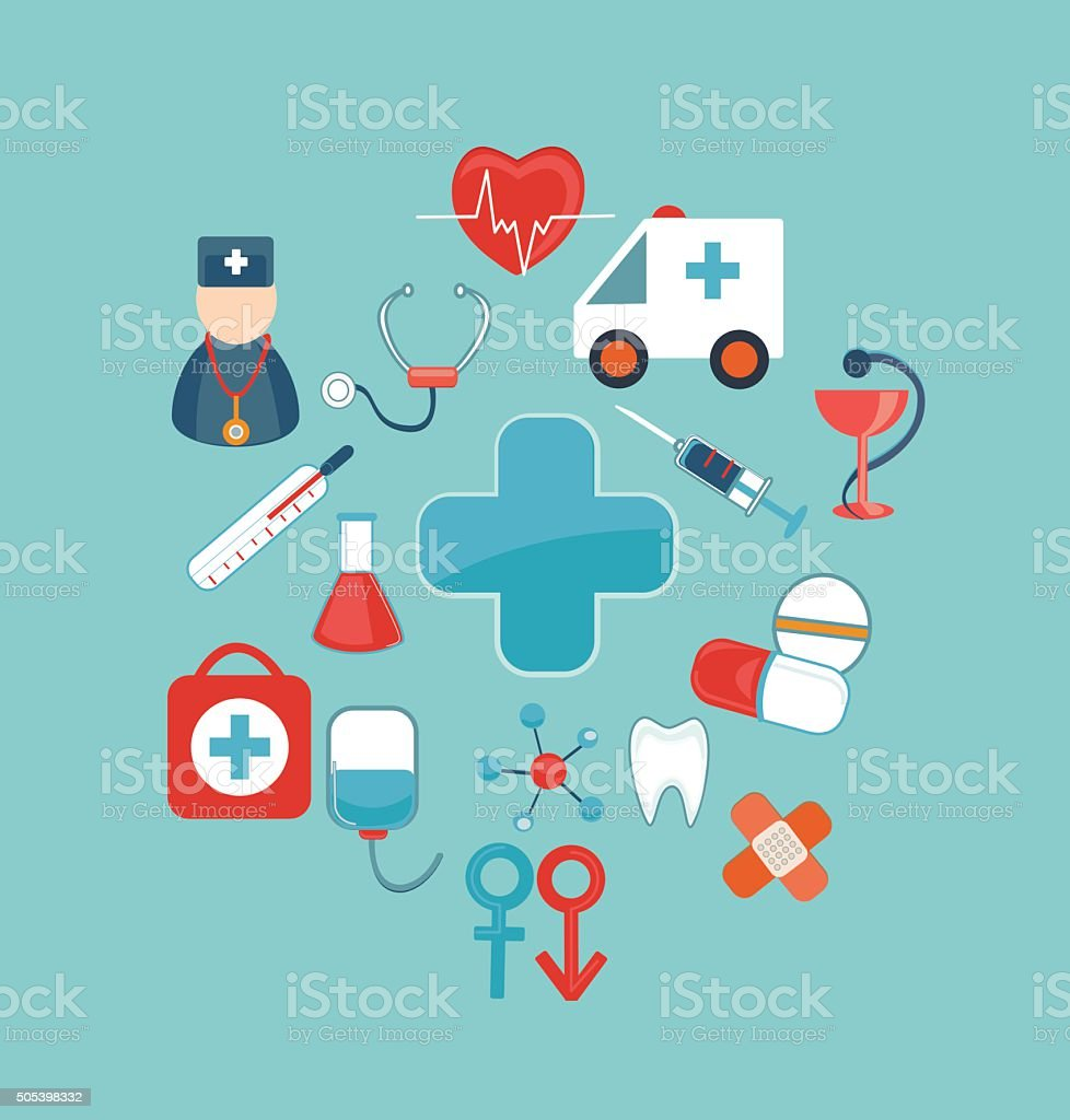 Medical mobile UI applications graphic user interface flat icons set. vector art illustration