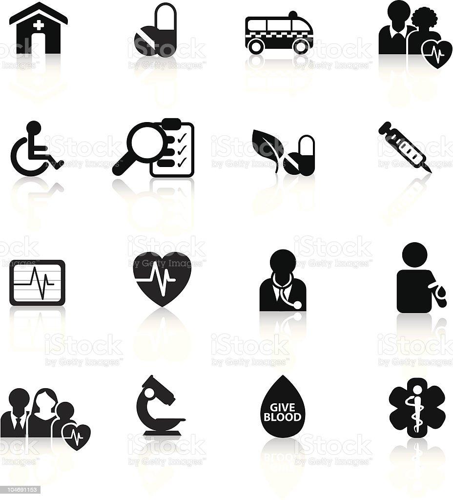 Medizinische moderne einfache Schwarz silhouette-icon-set Lizenzfreies vektor illustration
