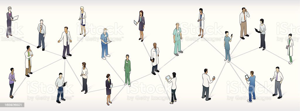 Medical Network Panoramic Illustration royalty-free stock vector art
