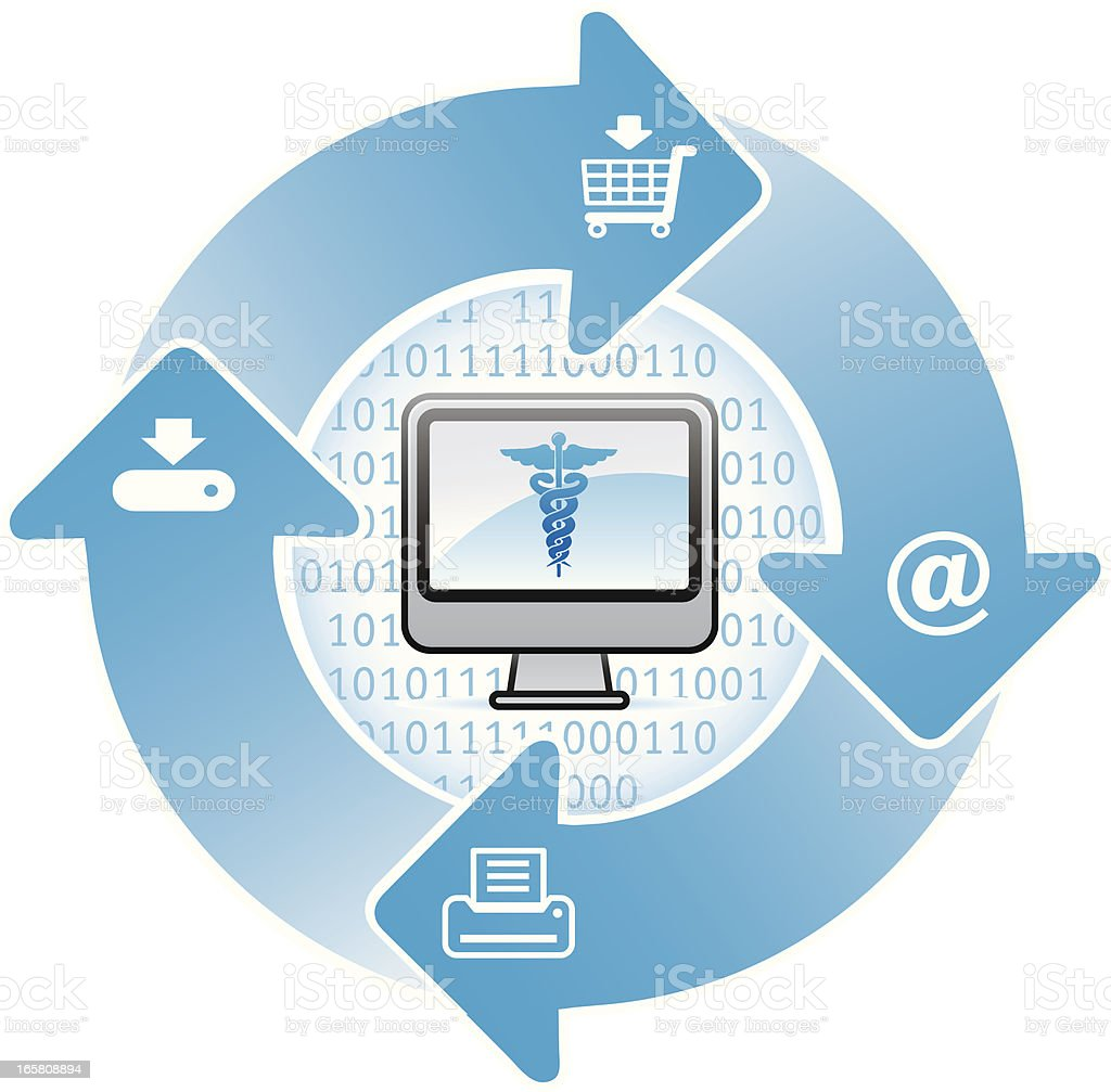 medical or healthcare and information technology vector art illustration