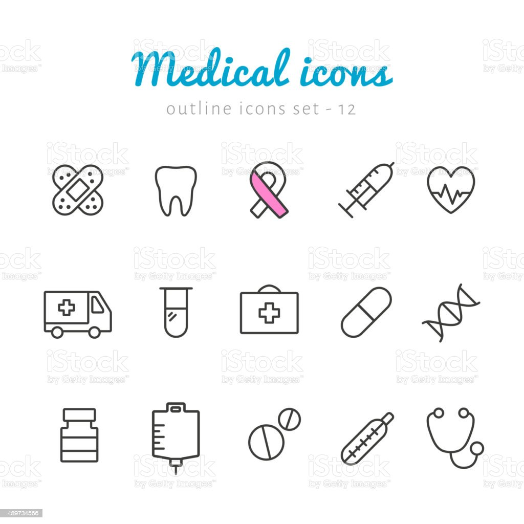 Medical outline icons vector art illustration