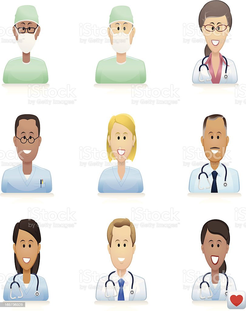 medical people icons vector art illustration