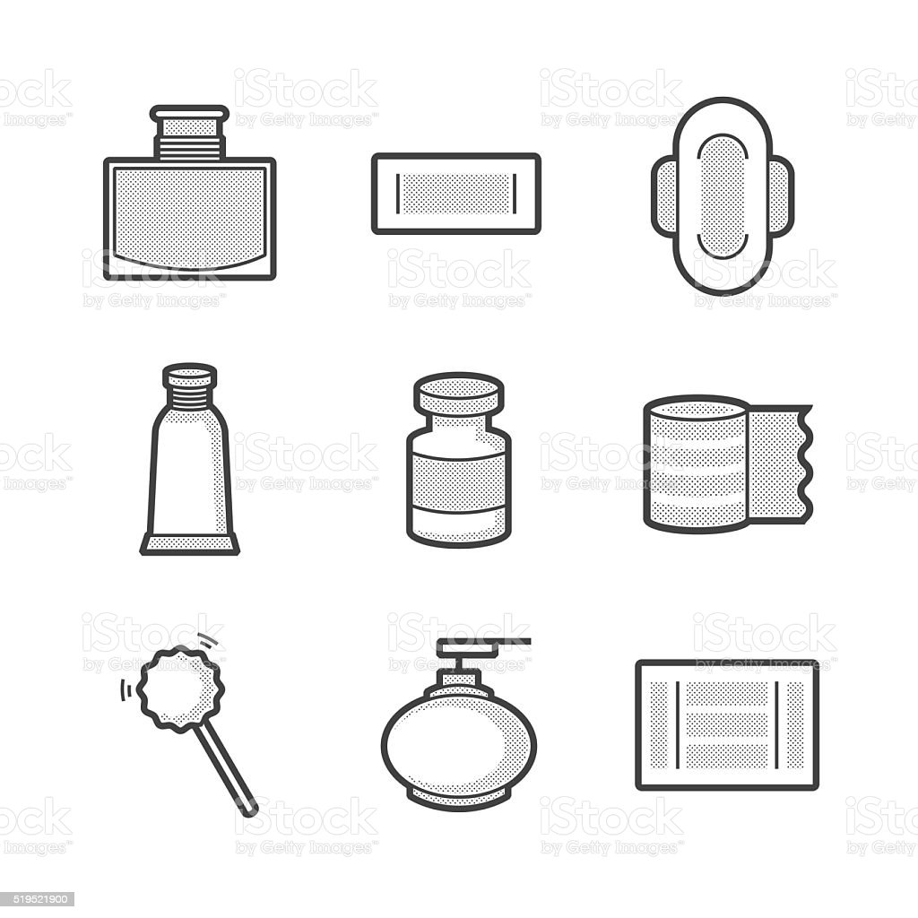 Medical Pharmacist, Basic equipment  Icons vector art illustration