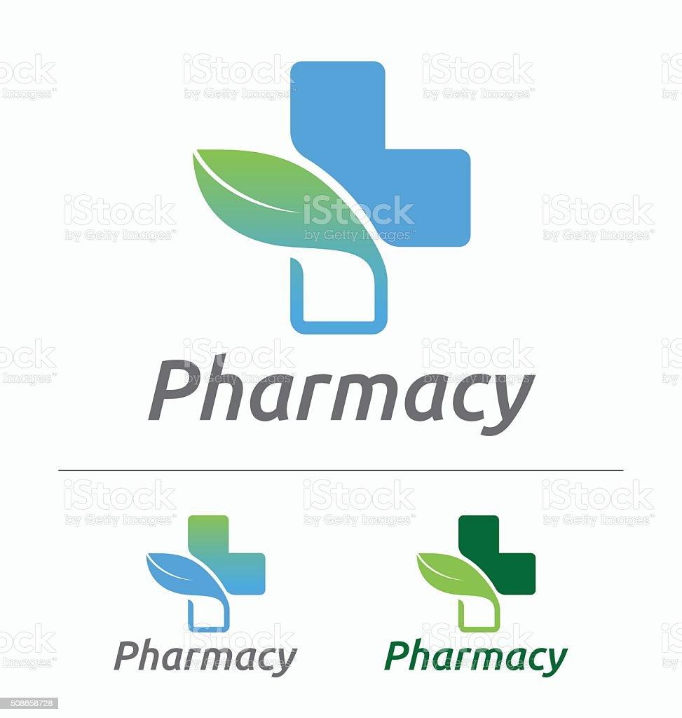 Medical pharmacy logo design vector art illustration