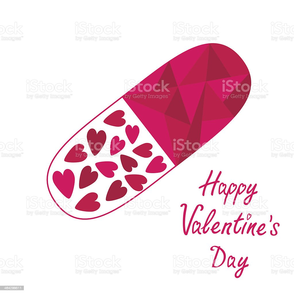 Medical pill with hearts inside. Happy Valentines Day card. royalty-free stock vector art