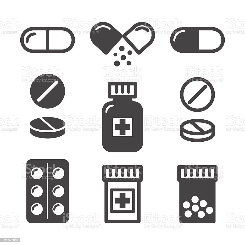 Medical pills and bottles icons set vector art illustration