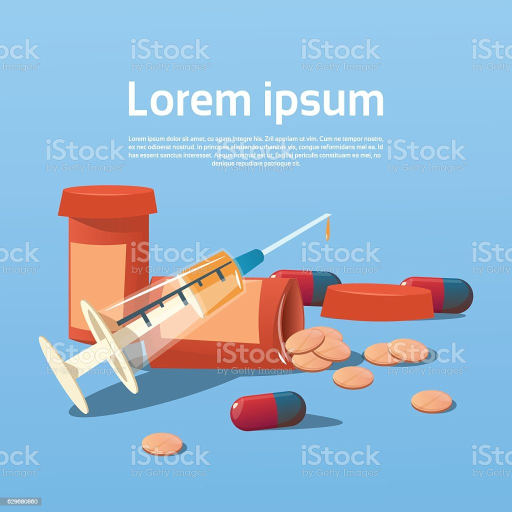 Medical Pills Tablets Bottle Health Care vector art illustration