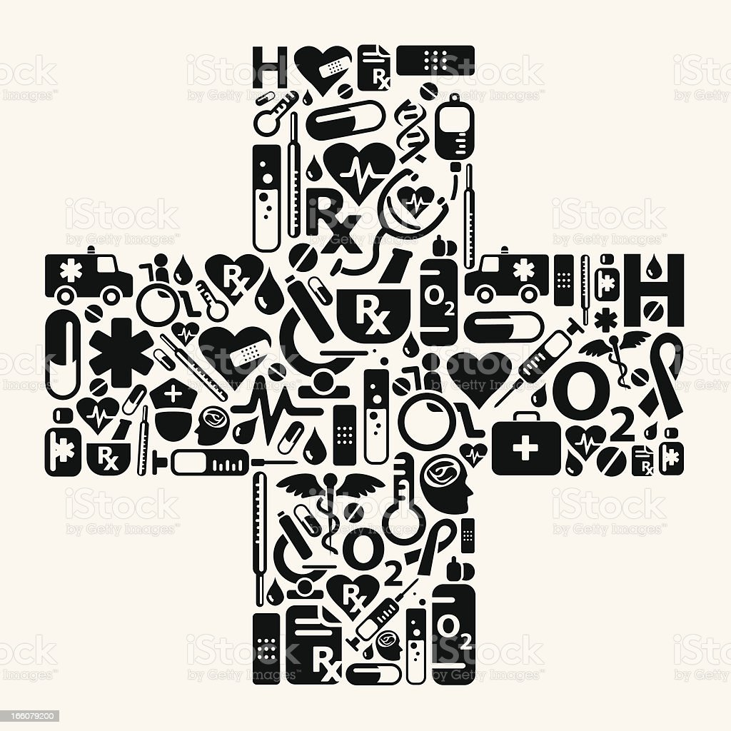 Medical Plus with icons royalty-free stock vector art
