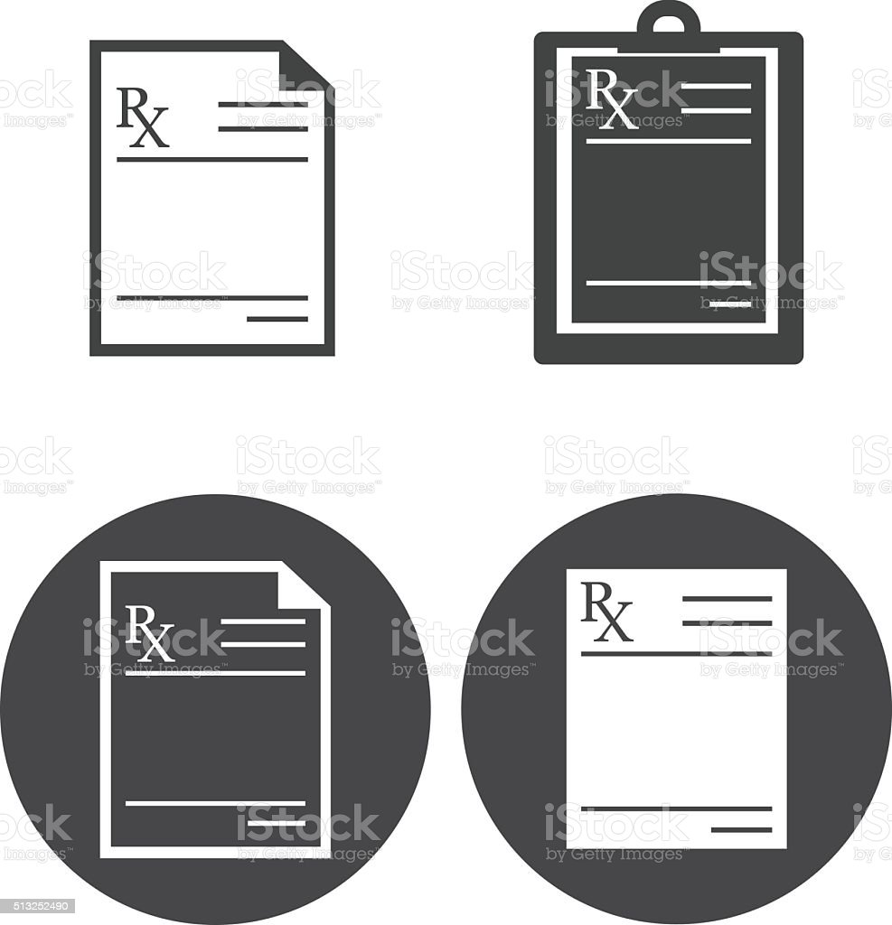 Medical prescription icons vector art illustration